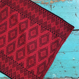 San Andres, Chiapas Red on Black Woven Square Pillow Covers - Zinnia Folk Arts