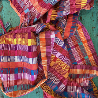 Striped Multi Colored Chamula Rebozos or Large Scarves - Zinnia Folk Arts