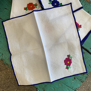 Set of 6 Mexican Embroidered Napkins, Huixtan - Zinnia Folk Arts