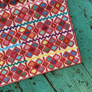 Red and Multi-color Chiapas Lumbar Pillow, Victoria Diaz - Zinnia Folk Arts