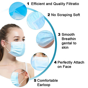 200PCS 3 Ply Surgical Face Mask Bulk, Can be Filter Dust/Coronavirus