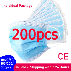 10/20/50/100/200/300pcs Protective Disposable Face Mask with Individual Package Wholesale