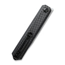 Exarch Front Flipper Knfie Twill Carbon Fiber Overlay On Black G10 Handle (3.22'' Damascus) C 2003DS-1