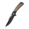 Dogma Flipper Knife Black Polished Brass Handle (3.46'' Black Stonewashed D2) C 2005E