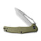 "Fracture Slip Joint Knife OG Green G10 Handle (3.35"" Gray Stonewashed 8Cr14MoV Tanto) C2008A"