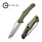 "Fracture Slip Joint Knife OG Green G10 Handle (3.35"" Gray Stonewashed 8Cr14MoV Tanto) C 2008A"