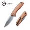 Baklash Flipper Knife Copper Stonewashed Handle (3.5'' Damascus ) C801DS-2