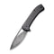 "Riffle Filpper Knife Dark Twill Carbon Fiber Overlay On Black G10 Handle (3.46"" Black Hand Rubbed Damascus) C 2024DS-1"