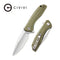 Baklash Flipper Knife OD Green G10 Handle (3.5'' Satin 9Cr18MoV ) C801A