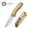 Baklash Flipper Knife Stonewashed Brass Handle (3.5'' 154CM) C 801J
