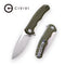 Praxis Flipper OD Green G10 Handle (3.75'' Satin 9Cr18MoV) C 803A
