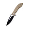 Aquila Flipper Knife Tan G10 Handle (3.45'' Black Stonewash and Satin Flat Japanese VG-10) C 805C