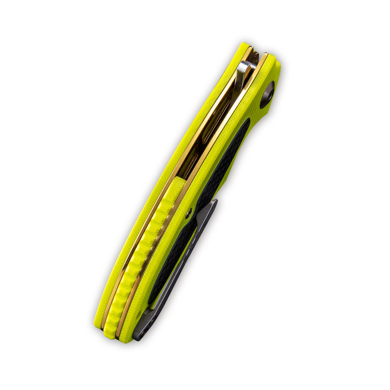 "Shard Flipper Knife Fluorescent Green G10 with Carbon Fiber Overlay Handle (2.95"" Satin D2) C 806A"