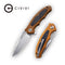 "Shard Flipper Knife Brown G10 with Carbon Fiber Overlay Handle (2.95"" Satin D2) C 806B"