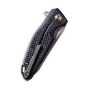 "Statera Flipper Knife Black G10 with Carbon Fiber Overlay Handle (3.45"" Stonewashed D2) C901C"