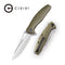 Wyvern Liner Lock Knife OD Green Fiber-glass Reinforced Nylon Handle (3.45''  Satin D2) C902A