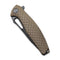 Wyvern Liner Lock Knife Tan Fiber-glass Reinforced Nylon Handle (3.45'' Black Stonewashed D2) C902F