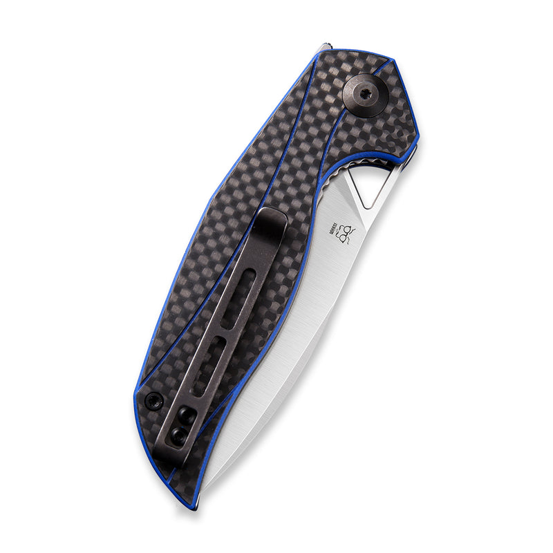 Anthropos Flipper Knife Blue G10 Handle with Carbon Fiber Overlay (3.25'' Satin D2) C 903B