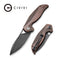 Anthropos Flipper Knife Black Stonewashed Copper Handle (3.25''Damascus) C903DS-3