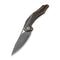 Plethiros Liner Lock Knife Black Hand Rubbed Brass Handle (3.45'' Black Hand Rubbed Damascus) C904DS-3