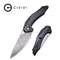Plethiros Liner Lock Knife Black G10 Handle with Carbon Fiber Overlay (3.45'' Damascus) C904DS