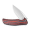 Incite Flipper Knife Layered Red G10 and Carbon Fiber Handle (3.7'' Satin D2) C 908C