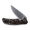 Incite Flipper Knife Shredded Carbon Fiber And Golden Shred In Clear Resin Handle (3.7'' Damascus) C 908DS-1