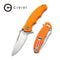 "Little Fiend Flipper Knife Orange G10 Handle (3.01"" Satin D2) C910B"