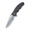"Little Fiend Flipper Knife Black G10 Handle (3.01"" Damascus) C 910DS"