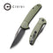 "Ortis Flipper Knife OD Green Fiber-glass Reinforced Nylon Handle (3.25"" Black Stonewashed 9Cr18MoV) C2013C"