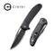 "Ortis Flipper Knife Black Fiber-glass Reinforced Nylon Handle (3.25"" Black Stonewashed 9Cr18MoV) C2013D"