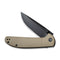 "Badlands Vagabond Flipper Knife Tan Fiber-glass Reinforced Nylon Handle (3.25"" Black Stonewashed 9Cr18MoV) C 2019A"
