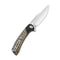 "Dogma Flipper Knife Black Polished Brass Handle (3.46""Satin D2) C 2014A"