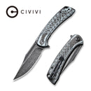 "CIVIVI Dogma Flipper Knife Layered White G10 and Carbon Fiber Handle (3.46"" Black Hand Rubbed Damascus) C 2014DS-1"