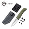 "M2 Backup Fixed Blade Knife OD Green G10 Handle (3.09"" Satin D2) C 2016B"