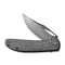 "Ortis Flipper Knife Twill Carbon Fiber Handle (3.25"" Black Hand Rubbed Damascus) C 2013DS-1"