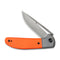 "Trailblazer Orange G10 Onlay On Gray Stainless Steel Handle (2.97"" Gray Stonewashed 14C28N)   C 2018A"