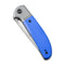 "Trailblazer Blue G10 Onlay On Gray Stainless Steel Handle (2.97"" Gray Stonewashed 14C28N)  C 2018B"