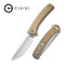 "Asticus Flipper Knife Stonewashed Brass Handle (3.80"" Satin D2) C 2002E"