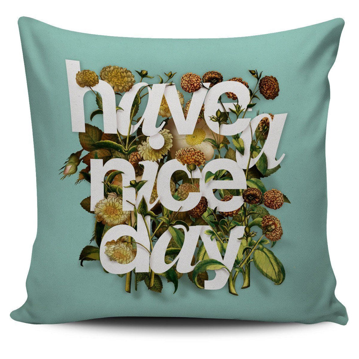 Flower Typography Happy Day Pillow Cover