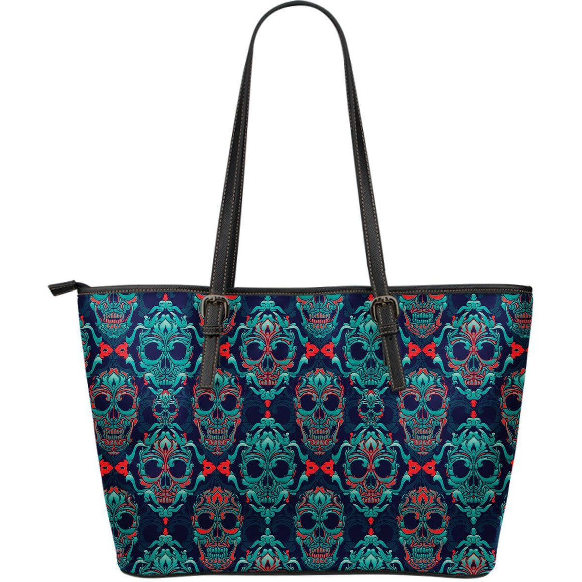 NP Skull Leather Tote Bag