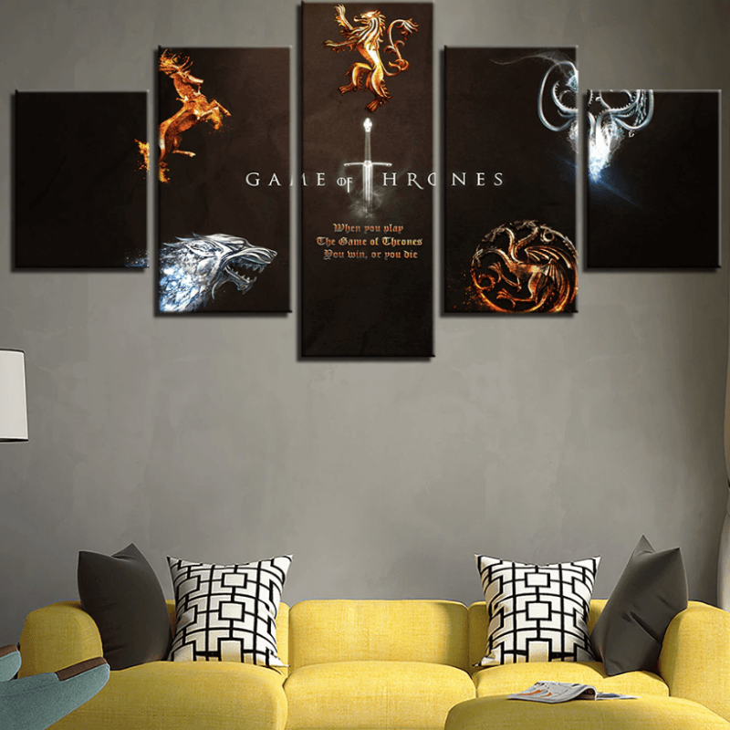 Game Of Thrones Five Houses Canvas