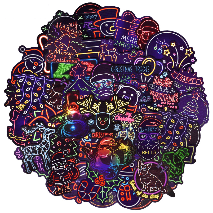 Merry Christmas Neon Stickers