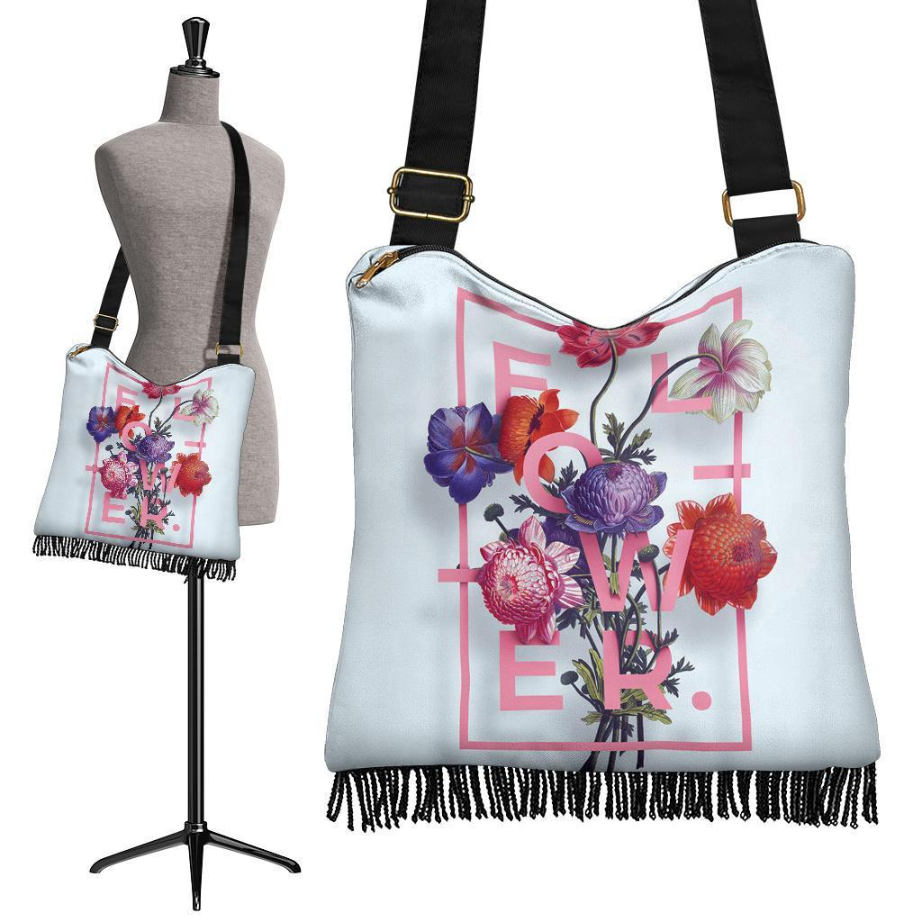Flower Typography Chrysanthemum Boho Handbag