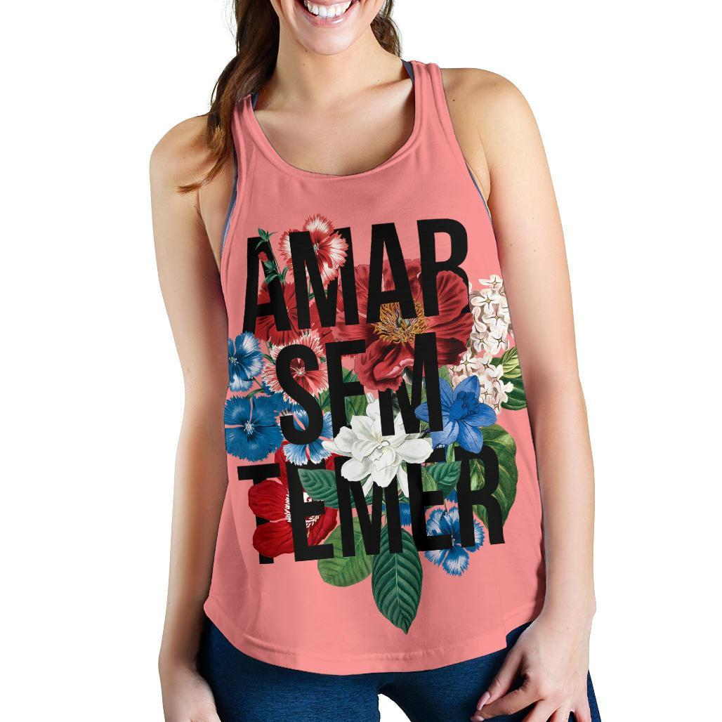 Flower Typography Love Without Fear Racerback Tank
