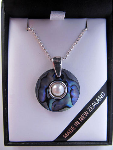Paua Donut Pendant with Silver and Pearl Insert