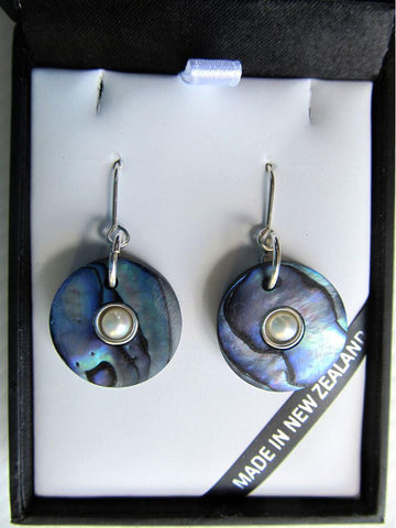 Paua Donut Earrings with Silver & Pearl Insert