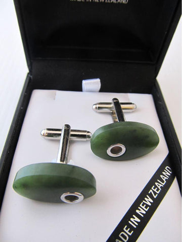 Oval Greenstone Cufflinks with Silver Detail