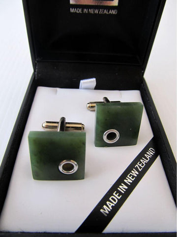 Square Greenstone Cufflinks with Silver Detail