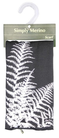 Merino Scarf: Black with Silver Fern Design